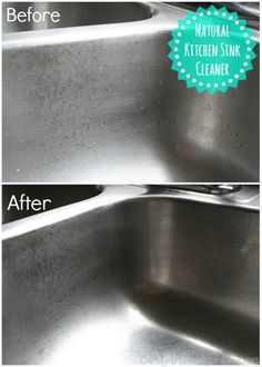 Natural Kitchen Sink Cleaner.  RECIPE: 3/4 Cup Baking Soda 1/4 Cup Lemon Juice 1/4 Cup Olive Oil 1/4 Cup Vinegar *Makes enough for one cleaning of a large kitchen sink.