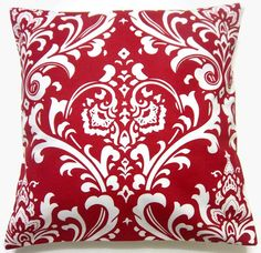 Two Red White Pillow Covers Traditional Design 16 inch Decorative Toss Throw Accent Covers on Etsy, $30.00