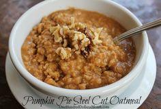 Starting it tonight in the slower cooker! Pumpkin Pie Steel Cut Oatmeal