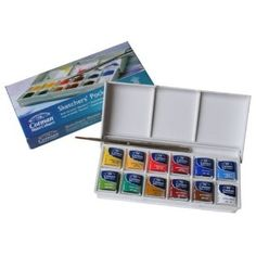 Winsor & Newton Cotman Sketchers' Pocket Box 12-color Half Pan Set - add a water brush and you're set.