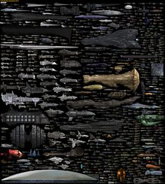 Starship size chart via http://dirkloechel.deviantart.com/art/Size-Comparison-Science-Fiction-spaceships-398790051