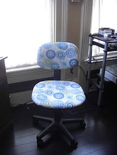 Recover an office chair to get a custom look in your home office! Looks great!