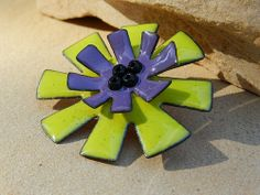 bitter green and iris purple enameled flower pin