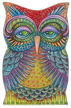 Owlette Oralee  Art PRINT 8 x 10 Fun Loving by BijousWhimsy, $20.00