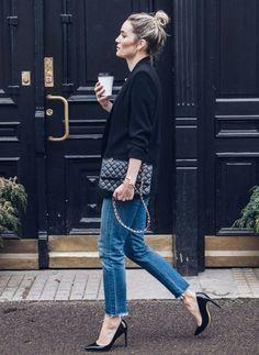 black blazer, jeans, black heels, top knot