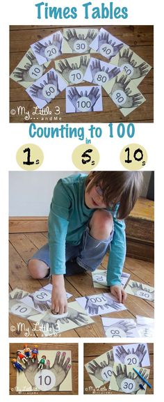 Handprint Maths! Count to 100 in 1's, 5's and 10's with this simple Counting and Times Tables Games set from My Little 3 and Me.