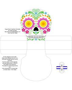 Sugar Skull Treat Box , Free Box Templates to print for gift boxes, wedding favours, kids crafts and gift wrap ideas, printable, box , pattern,template, container,wrap, parent crafts, decor, design