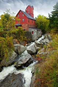 Old Red Mill, Jericho, Vermont. #fall #autumn #mills #Vermont #travel