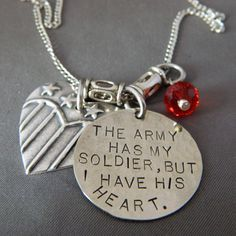 The Army has My Soldier, But I Have his Heart Handstamped Necklace with Flag Heart via Etsy