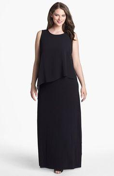 Evans Overlay Bodice Maxi Dress (Plus Size) Black 46
