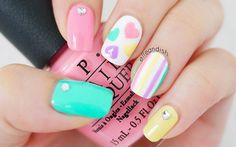 Valentine's Day Nails: Pastel Hearts & Stripes