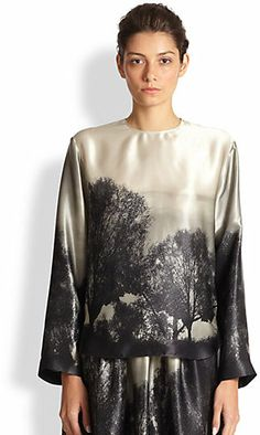 Stella McCartney Silk Hampstead Print Blouse forest