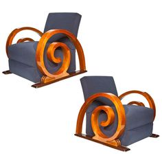Rare French Art Deco Chairs / c. 1930s /  walnut with dramatic curled 'escargot' arms. @designerwallace