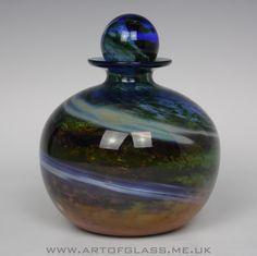 Isle of Wight Studio Glass Aurene  bottle, designed by Michael Harris