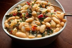 Braised White Beans with Chard (serve with... polenta, maybe?)