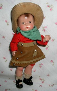 RARE 1930s Effanbee PATSY Baby Tinyette Toddler Buckaroo COWGIRL!