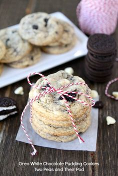 Oreo White Chocolate Pudding Cookies from www.twopeasandtheirpod.com #recipe #cookies