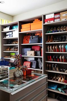 A closet full of accessories from head to toe.