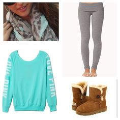 Gray tights, big sweatshirt, fuzzy boots' scarf