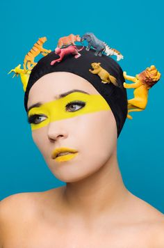 Animals by photographer Josefina Mogrovejo. #yellow #creative #art #mask #body-paint #inspiration #shaman