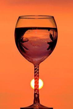 Sunset through a wine glass, Captain Cook, Hawaii