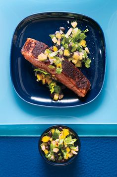 Jamaican Jerk Salmon and Mango Pineapple Salsa. This was very good, definitely make the salsa.