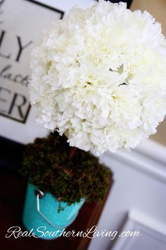 DIY Spring Carnation Topiary at RealSouthernLiving.com