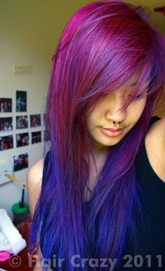 Magenta, purple, and blue hair