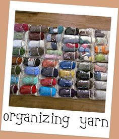 What a great idea! Store your yarn in behind-the-door shoe racks. This idea is great for those that have big yarn stash. #yarn #organization