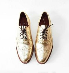 Free shipping - Handmade Golden metallic leather oxford shoes $120.00