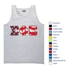 Fraternity Stars and Stripes Tank Top $19.99 #Fraternity #Clothing #America #MemorialDay #FourthofJuly #Summer theta phi, fratern cloth, alpha sigma