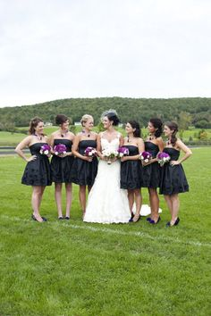 Sweet bridesmaids in black. Photography by @Justin Marantz