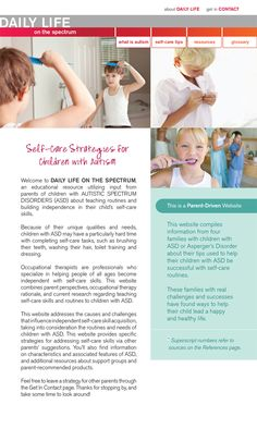 Website that helps promote self-care independence for children who are on the autism spectrum.