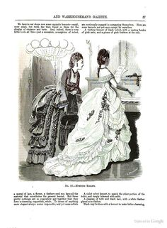 Evening Toilets, February 1870, The Milliner and Dressmaker