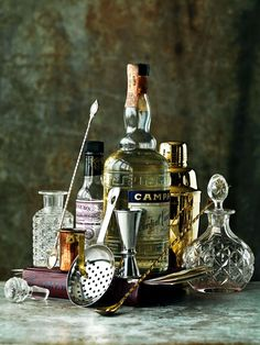 Campari, cocktail shaker and other bar essentials (Stylist - Linda Lundgren of Agent Bauer)
