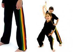 "Pantalon de capoeira ENFANT Marimbondo Sinha ""Abada Afro noir"" sinha abada, abada de, abada afro"