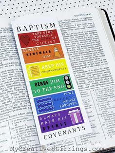 Baptism Bookmark and Talk Files- This printable Baptism Bookmark and Talk help children remember the Baptism covenants they make and the promises they receive! This is a great gift for those getting baptized. The included talk explains the bookmark and the promises and blessings. Give a copy of the