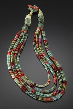 Four Tier Tube Necklace Patina, Leaf and Coral by Julie Powell (Beaded Necklace) | Artful Home