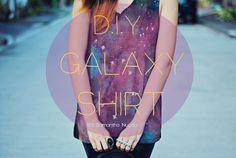 DIY galaxy shirt using bleach, spray bottle and acrylic paints