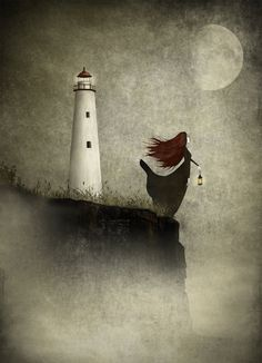 "The lighthouse widow - llustration print (size 7"" x 5""). kr139.00, via Etsy."