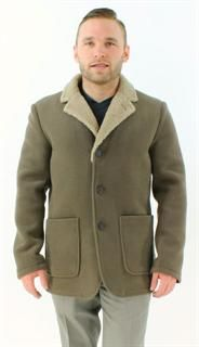 Perfect for Any Weather Khaki Textured Fabric and Shearling Jacket