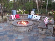 We've been looking for an idea for our firepit area...love this! <3 outdoor fires, outdoor fire pits, dream, patio, fire pit area, hous, backyard, outdoor spaces, seating areas