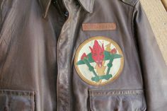 WW II WWII A 2 A2 Flight Jacket ID'D 49th Fighter Squadron Wings Patch Grouping.