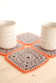 crocheted coasters.
