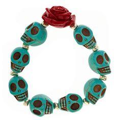 Sugar Skulls Bracelet Red by VangielinaJewelry on Etsy, $25.00