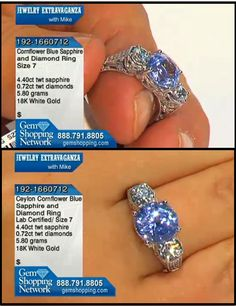 Certified - Cornflower blue sapphire ring in an antique diamond mount. This sapphire is a round cut which is so rare in a sapphire. What a beautiful blue this is.