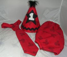 <3  Mickey Mouse Cake Smash Outfit  Party Hat by CutiePiesBabyTies, $38.00