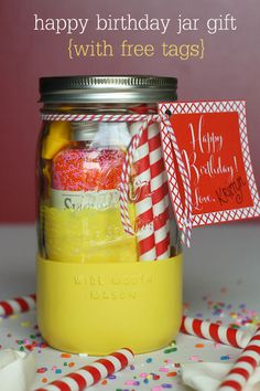 Happy Birthday Jar Gift idea with free tags on { lilluna.com }