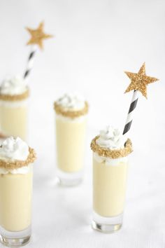 Champagne Chantilly Shooters for a winter wedding..