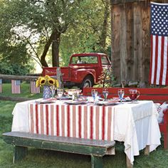Fourth of July Decor Ideas - picnic tables! love them : )